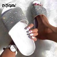 Glitter Pantofole Estate Donna Morbidi Suola Scivoli Scarpe da donna Crystal Diamond Bling Sandali da spiaggia Slip On Flip Flops Drop