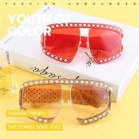 فاخر النظارات الشمسية الكبيرة لؤلؤة النظارات الشمسية للجنسين المتضخم نظارات شمسية للذكر واضح عدسة حملق UV400 النظارات الشمسية CCA9018 30PCS