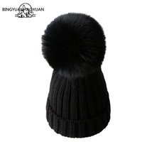 BINGYUANHAOXUAN Mink And fox Fur Ball Cap Pom Poms Winter Hat For Women Girl Hat Knitted Beanies Cap  New Thick Female Caps