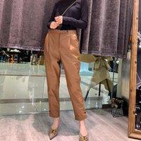 Mujeres Nuevas Moda Genuino Real Sheep Pantalones de cuero