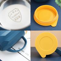 INS Coffe tazas de acero inoxidable de doble capa Copas de leche portátil Copa de campaña, con la tapa de los hogares de los amantes del café tazas 400ml 48pcs CCA12165