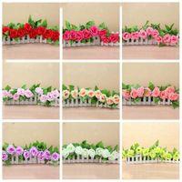 Fausse soie Roses Ivy vigne Fleurs artificielles avec des feuilles vertes pour la maison Décoration de mariage Hanging Garland Décor LXL844-1