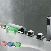 LED Waterfall Bathtub Faucet Widespread Tub Cold And Hot Wat...
