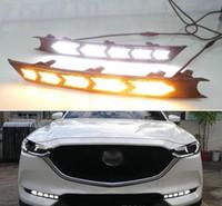Para Mazda CX5 CX5 2017 2018 Flowing sinal de volta Amarelo Função impermeável carro DRL 12V LED Daytime Running luz Daylight