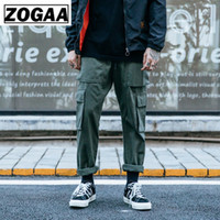 ZOGGA Spring Solid Casual Male Full Length Cargo Pants High-...