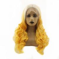 Cosplay BlondeYellow longue vague de corps cheveux Glueless perruques synthétiques de dentelle avant pour les femmes résistant à la chaleur fibre des cheveux de haute qualité
