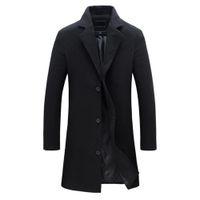 2018 mode männer wolle mantel winter warm massiv farbe lange grabenjacke männliche einzelne breasted business casual occoat parka