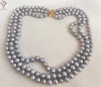 353ce4d0eda9 Joyas para mujer Collar de 3 hileras 8mm perlas grises hechas a mano collar natural  perla cultivada de agua dulce