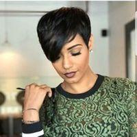 Parrucca da taglio corta pixie 100% parrucche per capelli umani non trasformati parrucche corti capelli umani per le donne nere non pizzi bob machine made parrucche