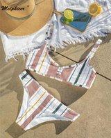 Кнопка Melphieer к 2020 году новые купальники бикини женские купальник спереди в полоску купальный костюм бразильские купальники купальный костюм женщины S~XL в