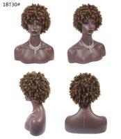 Synthetische Kurzes Haar Afro verworren lockige Perücken für Frauen Schwarzes Haar Hochtemperaturfaser gemischt braun und blond Farbe