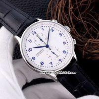 7 estilo de alta qualidade assista portidieser cronógrafo de quartzo mens relógio 371446 316L caso de aço discar branco blocos de couro gents relógios