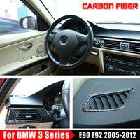 fibre de carbone Rangée arrière Climatisation Vent Cover Sticker pour BMW Série 3 E90 E92 E93 voiture Autoétiquettes 2005-2012-Styling