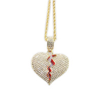 Fashion Hip Hop Heart Broken Pendant Necklaces Couple Heart ...