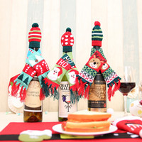 Natale bottiglia di vino coprire i vestiti Xmas Santa Renna Table Bottle Decoration for Party