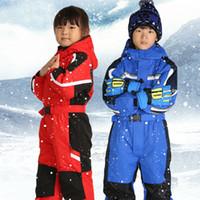 Дети Верхняя одежда Теплая Лыжи Куртки Утолщенные Детские лыжный костюм мальчиков Одежда для девочек Наборы Зимний Детские ползунки Для 2-7T