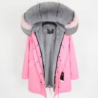 Designer Lavish cinza rosa pele de raposa guarnição com capuz da marca Maomaokong cinza coelho forro de pele rosa longo parkas mulheres casacos de neve