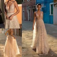 2021 선 Boho 웨딩 드레스 보헤미아 깊은 V 목 레이스 비딩 신부 가운이있는 백리스 얇은 명주 그물 층 길이