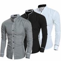 2019 Primavera Otoño Hombres Camisa Nueva Llegada de Manga Larga de Lujo Slim Fit Camisas Hombre Chemise Camisa Social Masculina Camisa de Vestir
