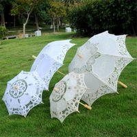 Nouveaux parasols de mariage pour la mariée Parapluies en dentelle blanche Artisanat chinois demoiselle d'honneur parapluie Diamètre 38 cm 60 cm 65 cm en gros