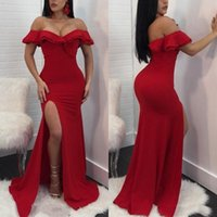 Cheap Red Prom Dresses Sereia Off The Shoulder Side Dividir formal Vestidos Sexy Plus Size Coxa alta Pageant Vestido de Noite
