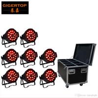gigertop 8IN1 플라이트 포장 8XLOT 18x18W 주도 알루미늄 파 라이트 전자 수동 줌 10-60 학위 RGBWY 퍼플 6in1 DMX 7/11 CH