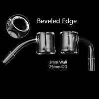 25mm OD 10mm 14mm 18mm 남성 여성 에반 쇼어 쿼츠 버거와 함께 Beveled Edge Quartz Banger dab rigs water bongs pipes