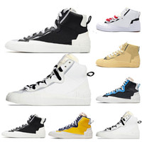 Nike Blazer Shoes Fashion Outdoor Mens Blazer Shoes Mid Sacai Casual Running Shoes Combine Dunk High Maize Navy University Blue Camo White Grey Sneakersr