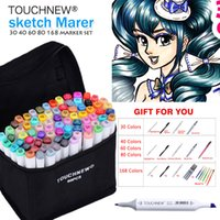 TOUCHNEW Art Marker 30 40 60 80 Colors Alcohol Based Ink Marker Set For Manga Dual Headed Art Sketch Markers Design Pens Anime