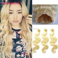 매혹적인 금발의 몸매 웨이브 360 머리 레이스로 인간의 머리카락 정면 브라질의 페루인 말레이시아 # 613 360 매단의 인간의 머리카락 묶음