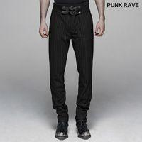 Personalidad guapos del club informal de la raya de los pantalones gótico caballero punto elástico delgado Hombres Pantalones Vertical PUNK RAVE WK-383XCM