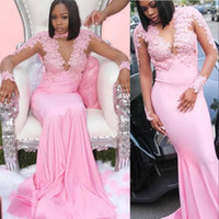 Cheap Pink Arabic Long Sleeves Mermaid Prom Dresses Sexy Hig...