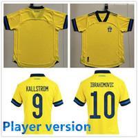 Версия для игрока Швеция 2020 Национальный футбол Джерси Ибрагимович Kallstrom Forsberg 2021 Швеция футбольная футболка