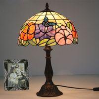 유리 아트 램프 거실 학습 책상 램프 빈티지 침실 침대 옆 테이블 램프 꽃 나비 따뜻한 스테인드 글라스 장식 테이블 빛