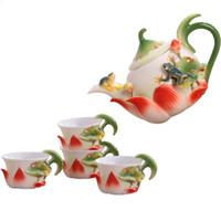 Lotus Teekanne Set 3D Emaille Teekanne Mit Tasse Home Dining Drink Porzellan Teetasse Kung Fu Keramik Geschenksets