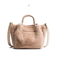 2019 Moda Suave Faux Fur Bag Small Women For Winter Mango Corto Bolso Señoras Cross-body Tote Bolso de mano Mujer