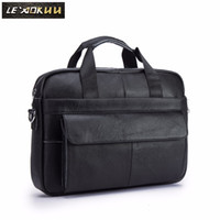 Men Oil Waxy Leather Antique Design Black Business Briefcase...