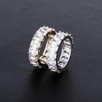 Personalità Hip-hop Rettangolare zirconio anello di pietra uomini e donne amanti Conciso Gioielleria Sì gioielli Jiejin'ao