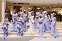 섹시 라일락 레이스 Appliqued 들러리 드레스 아프리카 오프 어깨 긴 소매 공식적인 이브닝 가운 저렴한 웨딩 게스트 드레스