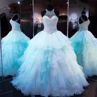 2020 아이스 블루 프릴이 오간자 볼 가운 성인식 드레스 럭셔리 비즈 진주 몸통 레이스 업 16 개 달콤한 댄스 파티 드레스