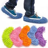 2 шт. / пара пылесос пастбищные тапочки 17 * 15 см с эластичной ванной пол очистки шваброй салфетки чистые тапочки микрофибры ленивый обувь крышка