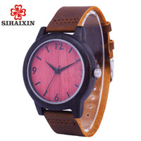 SIHAIXIN Mens Wood Watch Leather High Quality Natural Bamboo Wooden Male Clock relogio masculino  Quartz Drop Shipping
