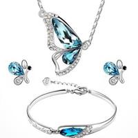 Kristal Düğün Takı Setleri Gelinler Için Kelebek Kolye Bilezik Saplama Küpe Set Moda Bayanlar Kadın Kızlar Mücevherat Gümüş Mavi Renk