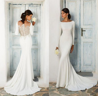 Modest Simple Long Sleeve Mermaid Wedding Dresses Lace Appli...