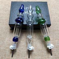 Tubos 10mm 14mm Conjunto Mini Kit multicolor Nector coleccionistas plataformas petrolíferas Nector Conjunto de recopiladores de agua Vidrio Pequeño Dab paja con Titanium Tip Box