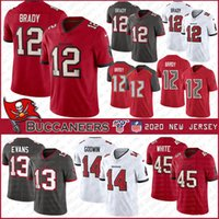 12 Tom Brady Tampa # Bay 2020 New football jersey Buccaneer 14 Chris Godwin 45 Devin White 13 Mike Evans Stitched jerseys