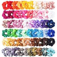 60pcs Couleur unie en satin de soie Bandeaux Bijoux femmes ou cheveux des filles Hairband Convient pour Ponytail Chouchous des femmes