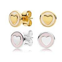 Blanco \ Rosa Pendientes de esmalte de oro amarillo de 14K en forma de corazón para Pandora 925 Pendiente de plata para mujer con caja de regalo original.