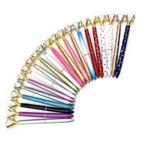 26 الألوان الإبداعية كريستال زجاج kawaii قلم كبير جوهرة الكرة القلم مع كبير الماس اللوازم المدرسية مكتب الطالب