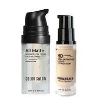Cor Salon face Escuro Círculo Makeup Set Matte Foundation Primer cobertura completa Corretivo Líquido Creme Corrector Make Up Base de Poros Cosmetic